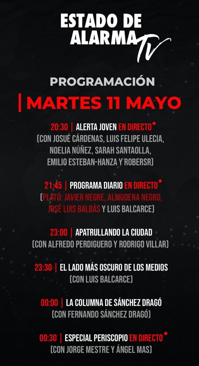 Programación Martes 11 Mayo