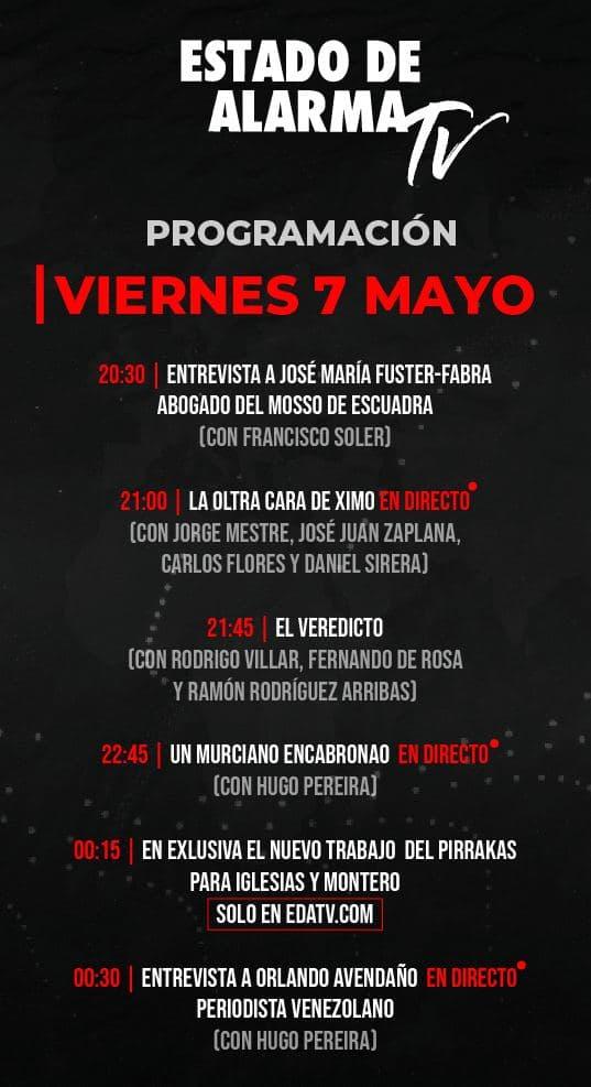 Programación Viernes 7 Mayo