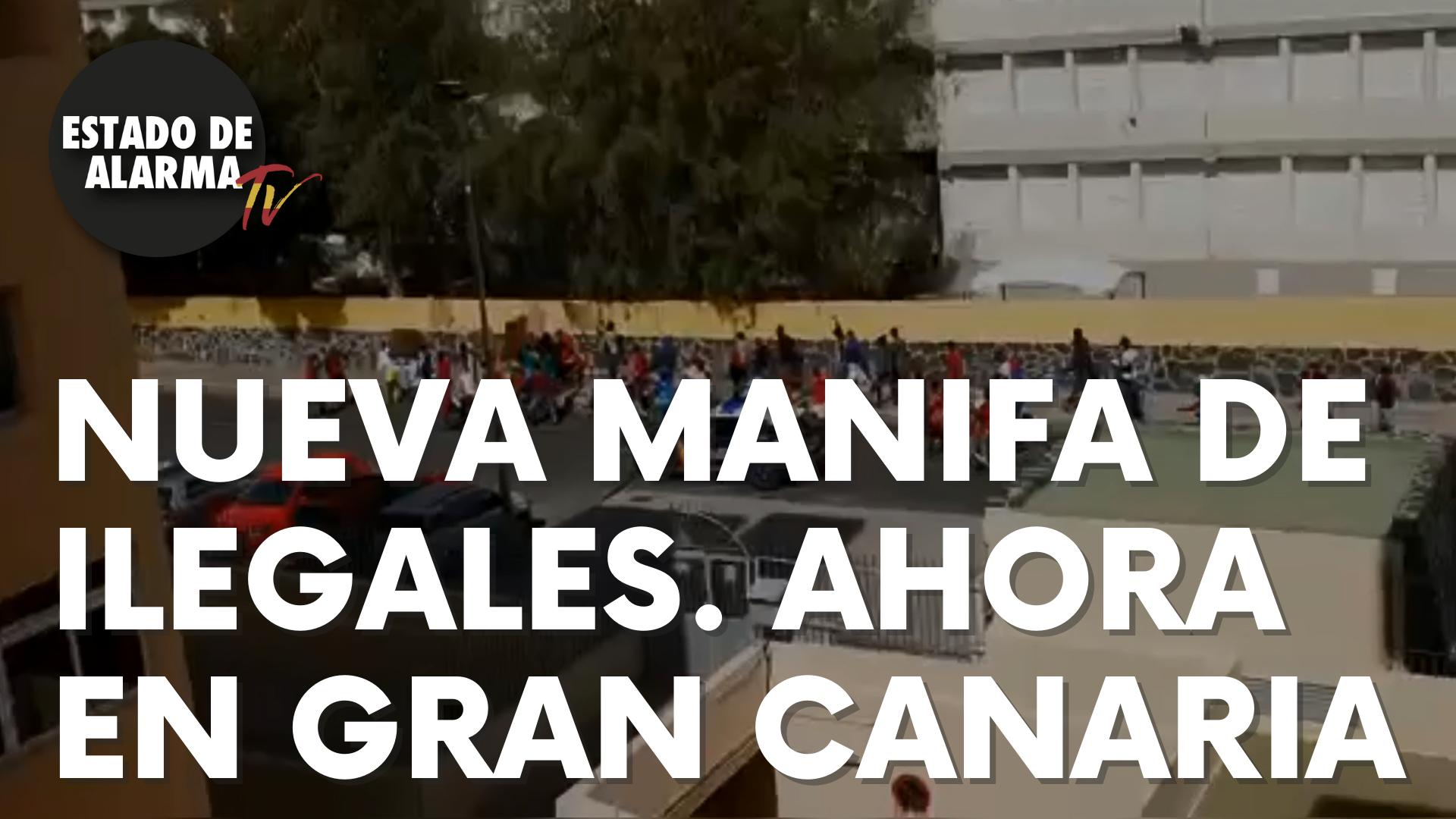 Nueva manifa de inmigrantes ilegales sin medidas de seguridad. Ahora en Gran Canaria