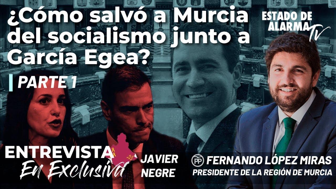 Entrevista al Presidente de la Región de Murcia Fernando López Miras, con Javier Negre