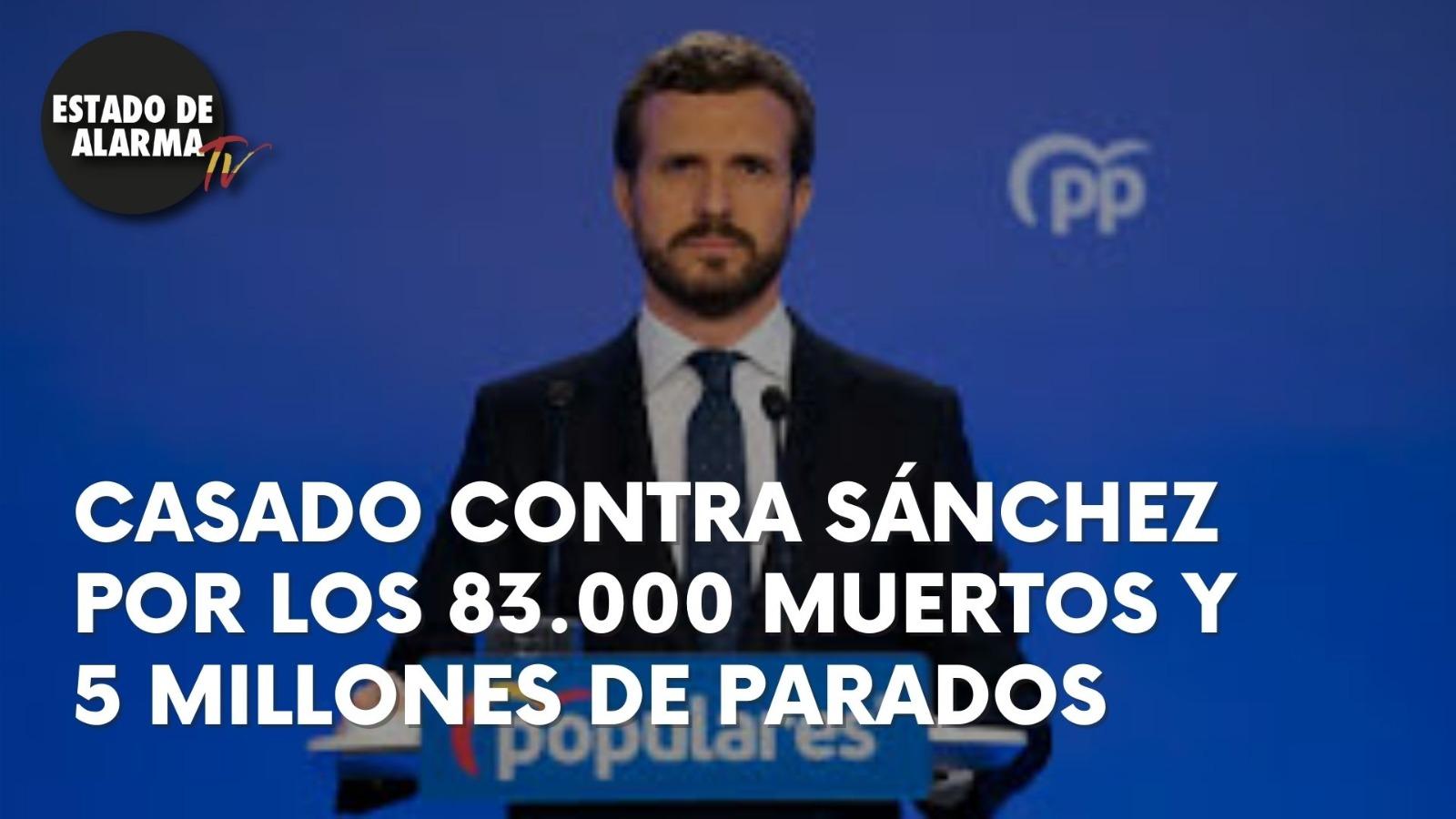 CASADO CONTRA SÁNCHEZ por los 83.000 MUERTOS y 5 MILLONES de PARADOS