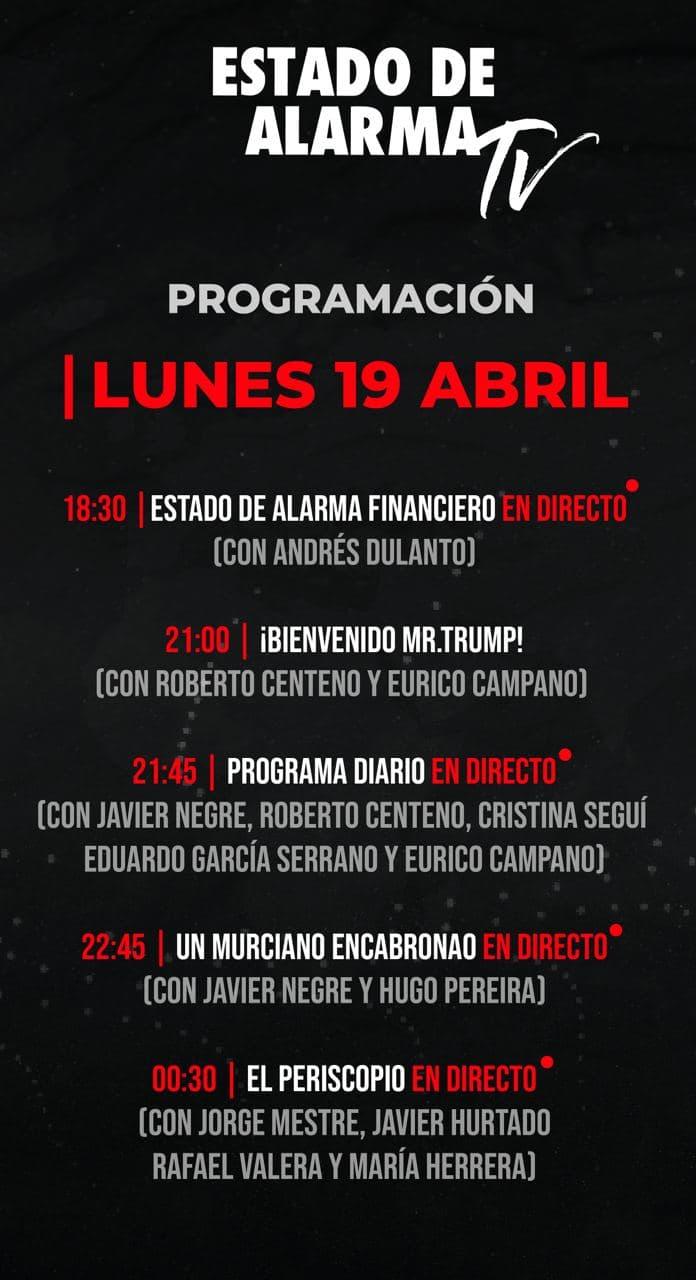 Programación Lunes 19 abril